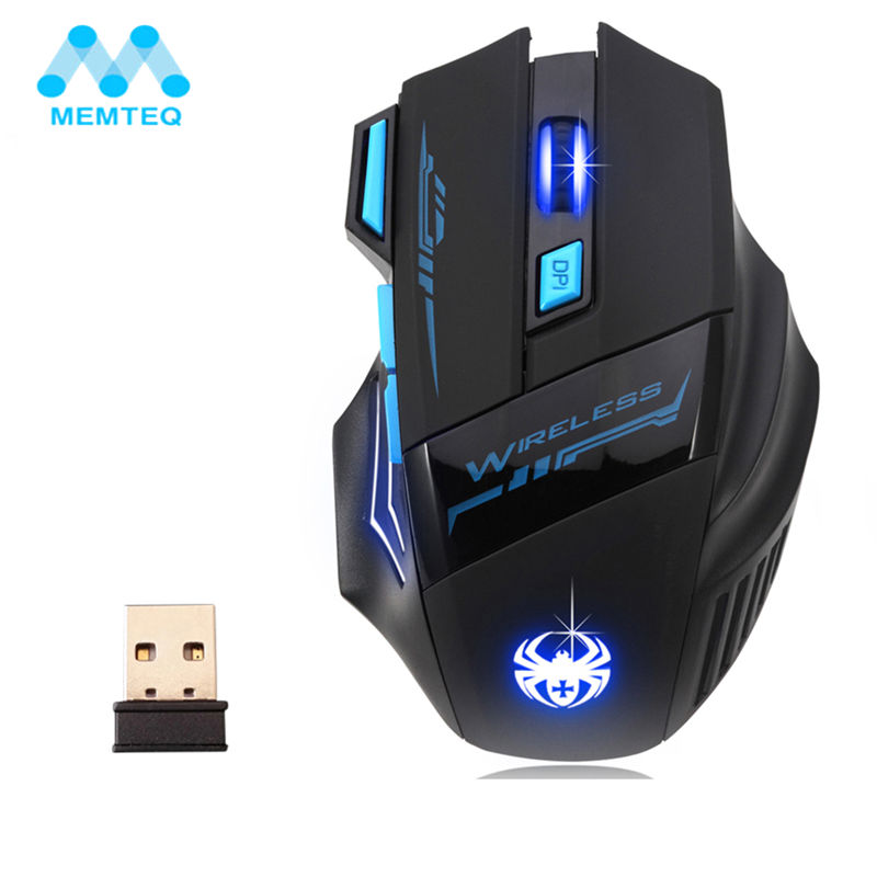 MEMTEQ 2.4G Wireless Mouse Optical Mouse 5 Buttons 2400DPI Computer Wireless Gaming Mouse LED Nighthawk F14 7D Gaming Mouse LED