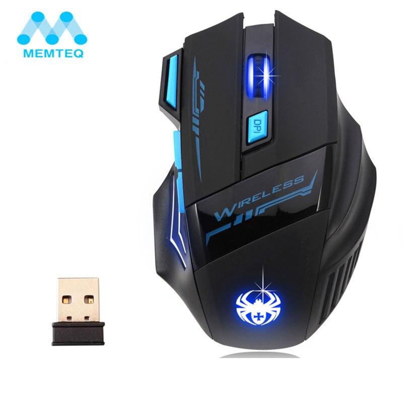 MEMTEQ 2.4G Mouse Senza Fili Mouse Ottico 5 Pulsanti 2400 DPI Computer Mouse Da Gioco Wireless LED Nighthawk F14 7D Gaming Mouse LED