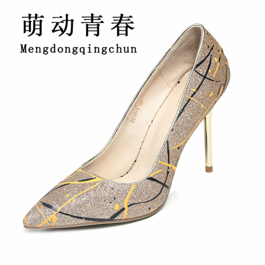 2016 Women Pumps Pointed Toe Shoes Woman Thin Heel High Heels Shoes Ladies Priting Genuine Leather Shoes Zapatos Mujer Plus Size plus size 34 43 new hot sale thin heel women pumps pointed toe sequin simple fashion high heels ladies dress shoes gold
