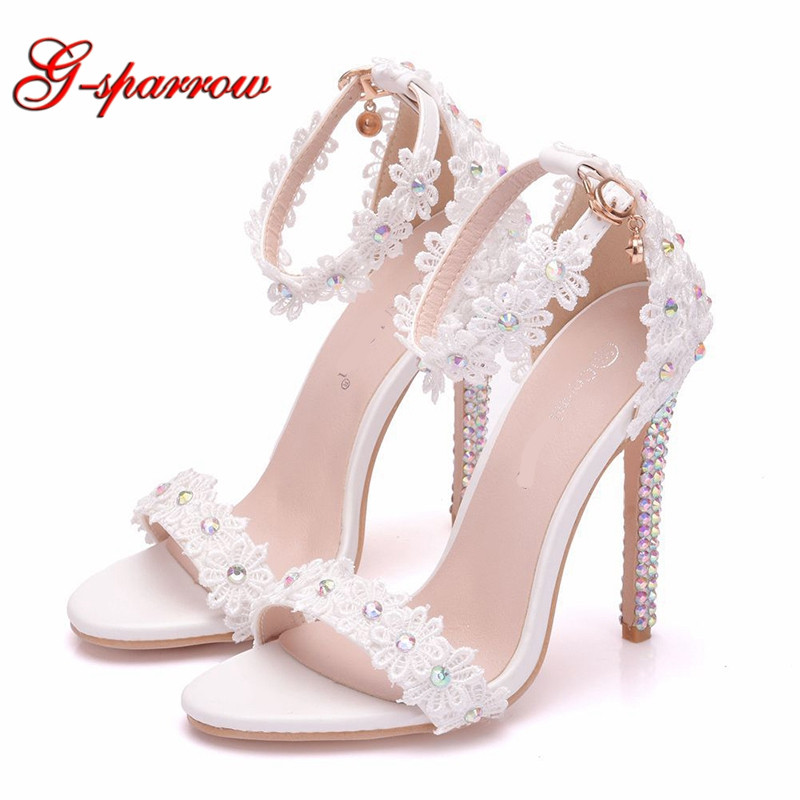 Sandals White Ankle-Strap Dress-Shoes Heel Open-Toe Female Lace 11cm Thin Party