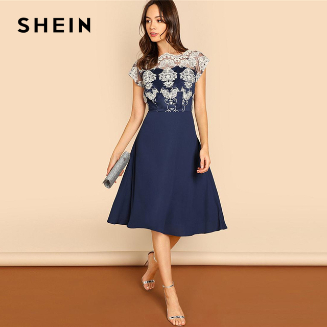 da1818c68a SHEIN Navy Embroidered Mesh Bodice Fit   Flare Dress Elegant Short Sleeve  Round Neck Party Dresses
