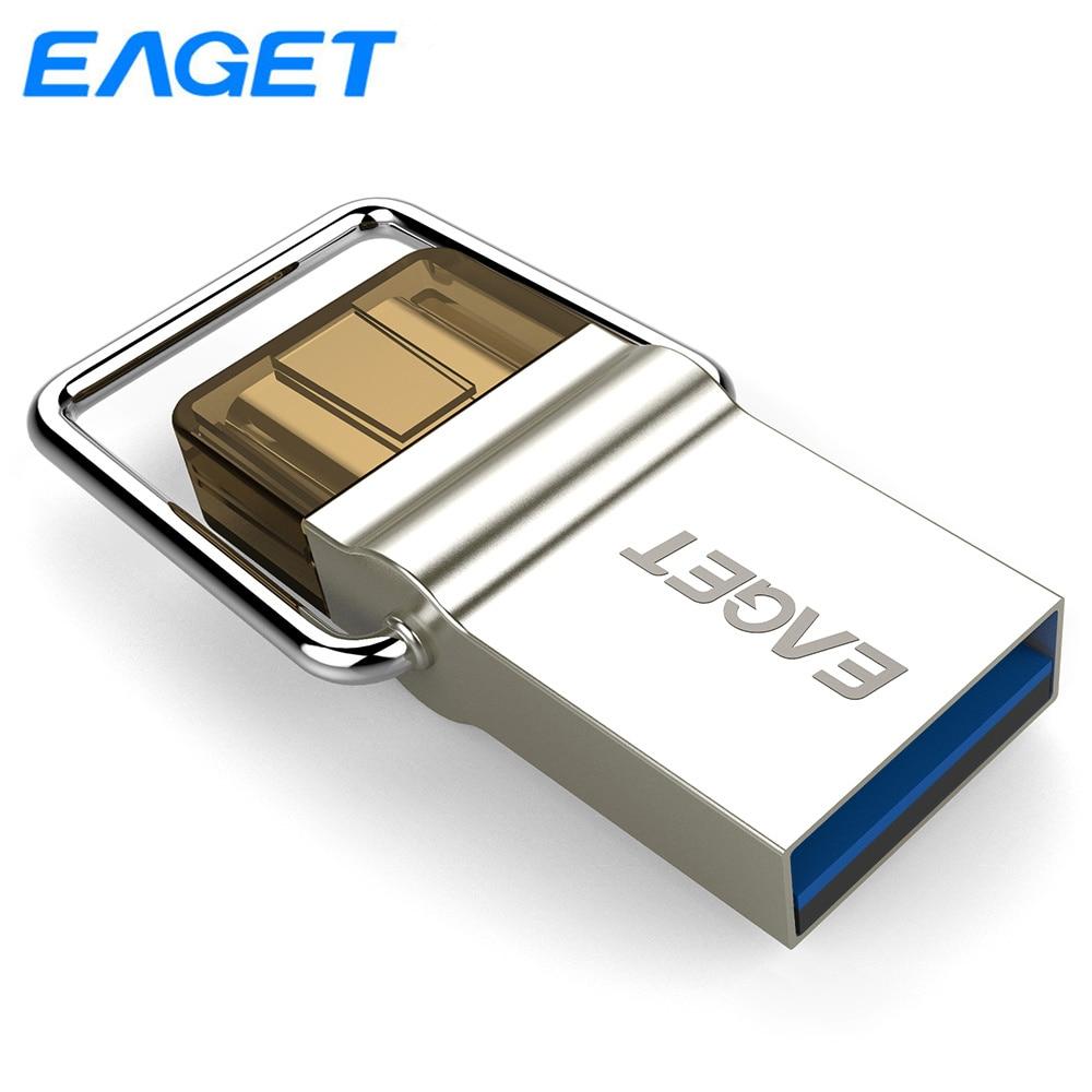 Eaget USB Flash Drive 32 GB 64 GO OTG Usb 3.0 Type C flash drive Métal Pendrive 32 GB mini USB stick Pen drive Pour Xiaomi Samsung