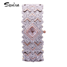 Luxury Savina Lady Women's Wrist watch Shell Rhinestone Full Crystal Fashion Hours Dress Bracelet Bling Birthday Love Girl Gift