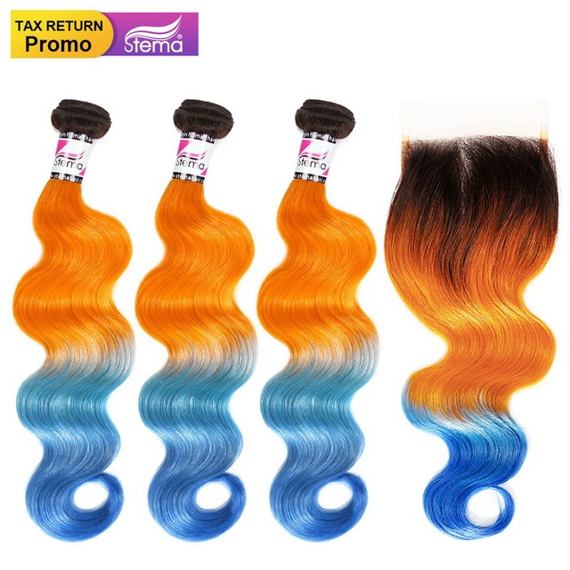 Stema Brazilian Human Hair Body Wave 3Bundles With 4x4 Lace Closure Ombre Color 1b/Orange/Blue Remy Hair Extension