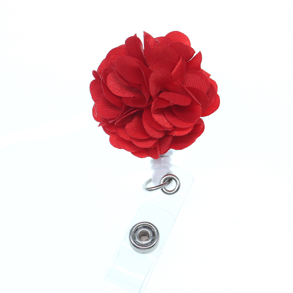 50pcs/100pcs New fashion beautiful orange / red fabric flower ID badge holder