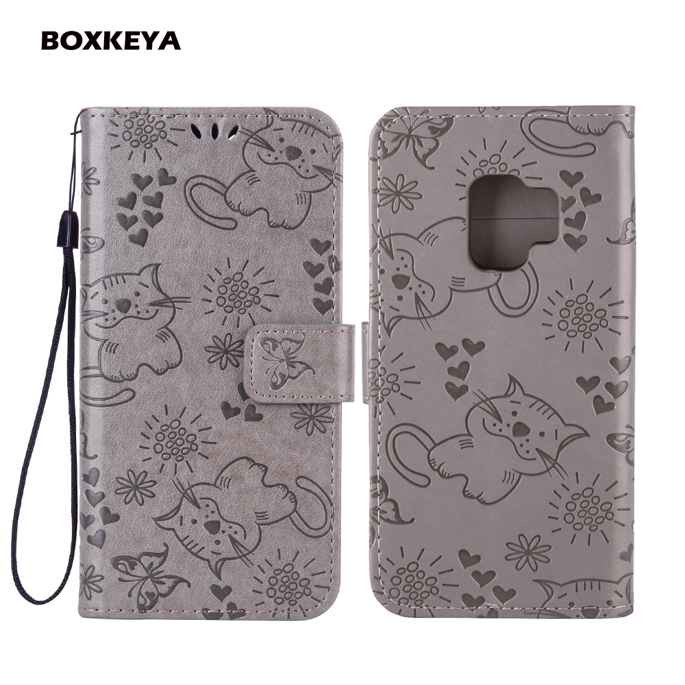 Fashion Embossed Butterfly Cat PU Leather Flip Wallet Stand Phone Cover For Samsung S9 Plus J2 Pro A8 2018 Note 8 J3 2016 2017