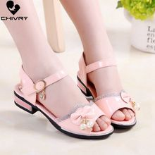 Chivry 2019 New Summer Children Girls Sandals Bowknot Beads Princess Shoes Kids High Heels Beach Party