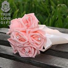 12 Colors Smaller Foam Flower Bouquet Wedding Artificial Flowers Crystal Bridal Bouquets Handmade Wedding Bouquet de mariage
