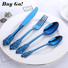 1lot/24PCS Blue Plated Dinnerware Set 18/10 Stainless steel Metal Luxury Cutlery Dinner Fork Dining Knife Tablespoon for 6