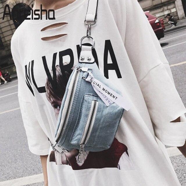 Anreisha Denim Material Waist Bag For Women Female 2018 New Design Fanny Bags Pack Girl Fashion Travel Belt Phone Bag Women Bags