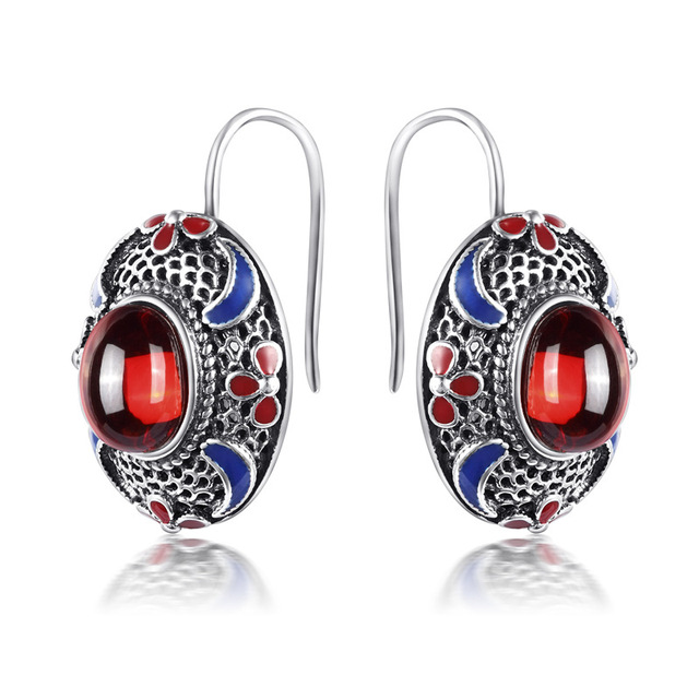 authentic 925 Sterling Silver Silver Earrings Vintage palace stone pomegranate azurite wind lady exaggerated Earrings