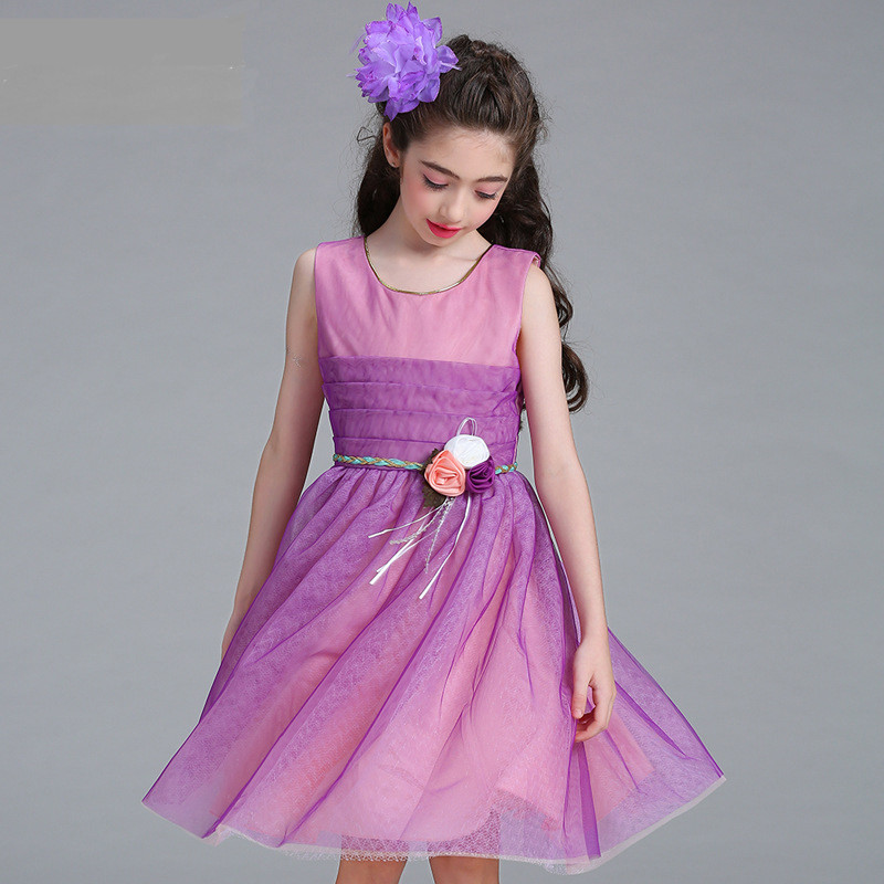 Flower Girl Gown Dress For Party Show Girl 2-8 Years Birthday Children's Girls First Communion Dresses Cloth Kids Party Wear 2016 4colors sleeveless party dresses for girls age 2 16y flower girl dress white first communion dresses for girls