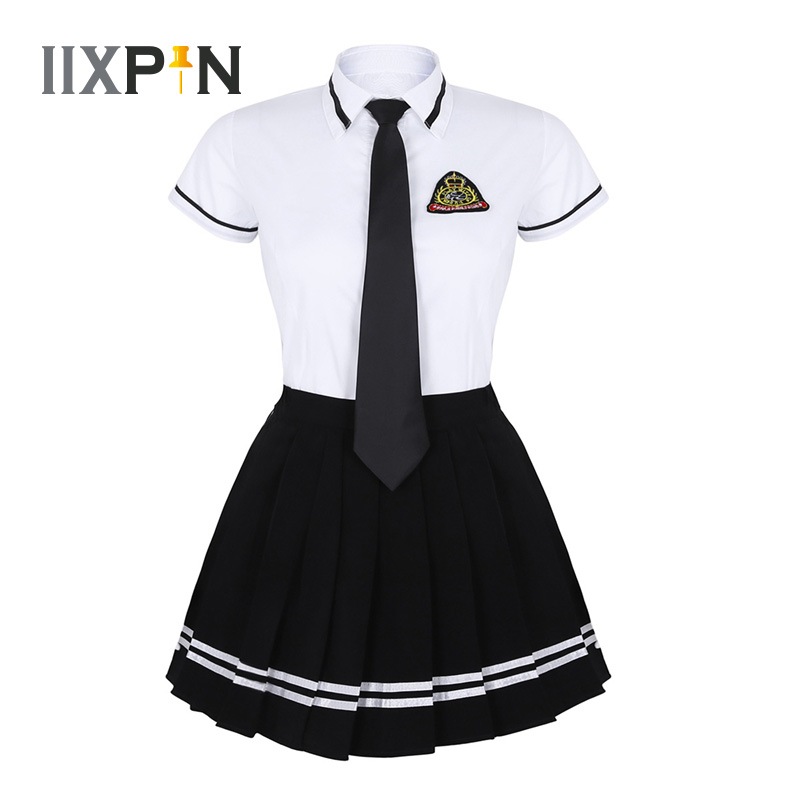 IIXPIN Japanese School Girl Uniform Suit Navy Sailor Costume T-shirt Black Pleated Skirt With Badge And Tie Sexy Girls Uniform