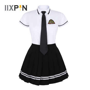 IIXPIN Japanese School Girl Uniform Suit navy sailor Costume T-shirt Black Pleated Skirt with Badge and Tie Sexy Girls Uniform - DISCOUNT ITEM  37% OFF All Category