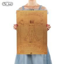 1 Pcs Leonardo Da Vinci Manuscript Vitruvian Man Posters Nostalgic Retro Decorative Painting Core Kraft Paper Wall Sticker