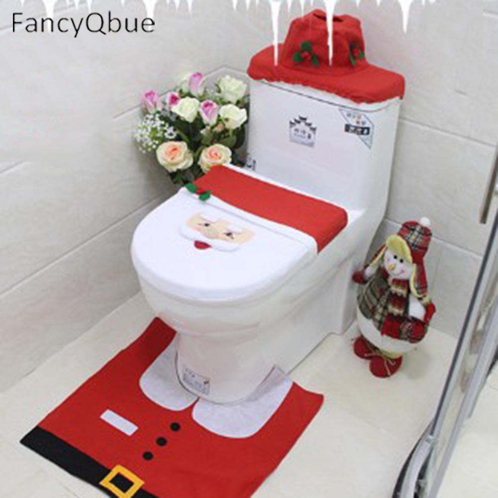 Three Style Santa Claus Toilet Seat Cover and Rug Bathroom Set Contour Rug Christmas Xmas Decoration drop shipping
