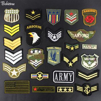 Armia naszywki wojskowe hafty żelazko na szyciu flaga American Air force Army przypinki do ubrań akcesoria tanie i dobre opinie Bobitree as photo HANDMADE Ekologiczne Haftowane Plastry Iron-on ZJ078