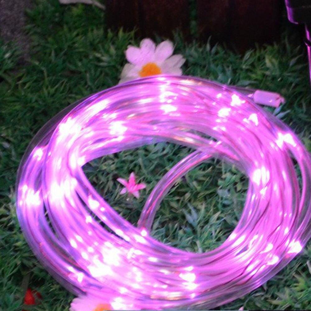 7M 50LED Solar Rainbow <font><b>Tube</b></font> Light String Christmas Wedding Party Decoration