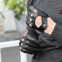 New half finger gloves men's spring and summer thin outdoor sports driving anti skid pure sheepskin bare fingers Leather Glove