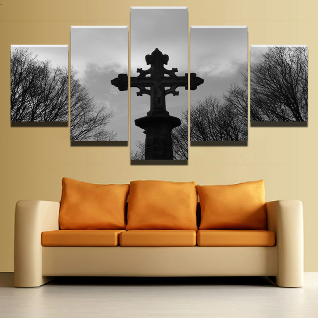 Canvas HD Prints Paintings Wall Art Home Decor 5 Pieces Religious Cross Celtic