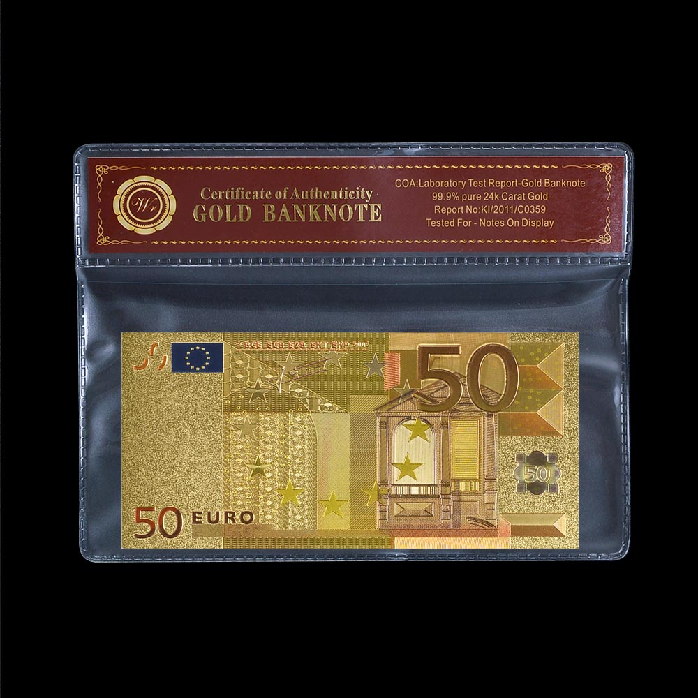 High-quality Money Color <font><b>Euro</b></font> <font><b>50</b></font> Metal Gold Foil <font><b>Banknote</b></font> Collectible <font><b>Fake</b></font> Money For Collection In PVC Frame image