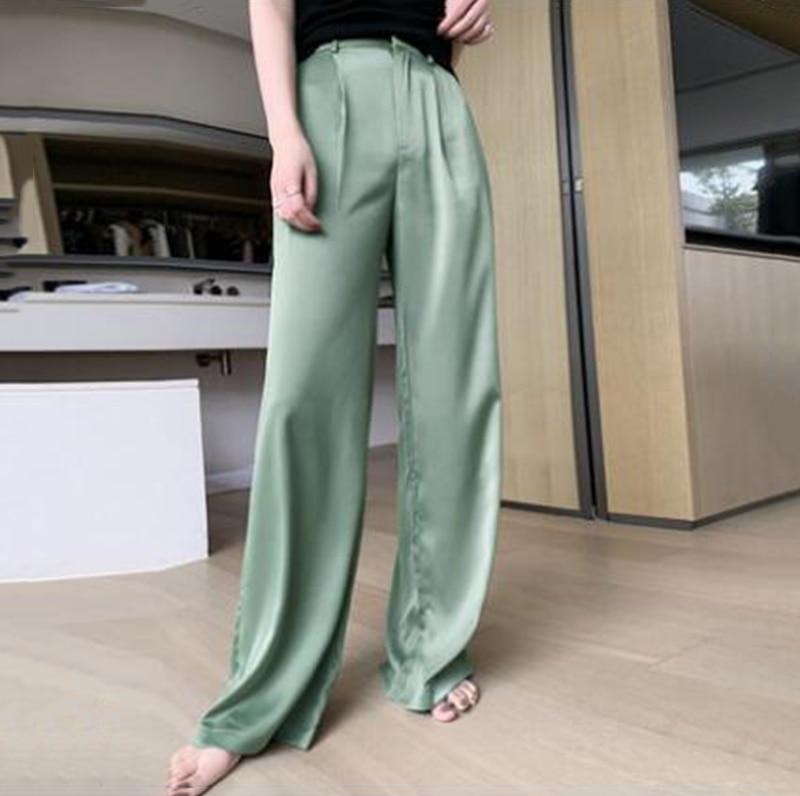 Summer Satin Elegant Wide Leg Pants Women High Waist Women's Drawstring Waistband Satin Joggers Casual Sports Sweatpants Pocket