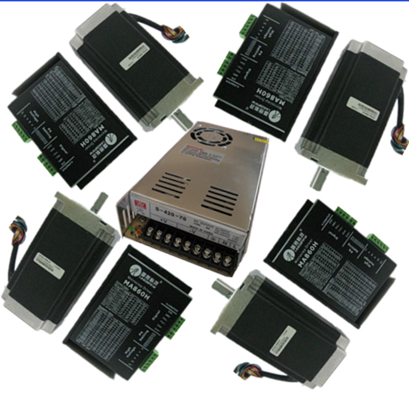 4 Name 34stepper motor 86byg250c 6n m long 115mm drive general+ MA860H ,2-phase microstepping stepper Driver+Power Supply toothed belt drive motorized stepper motor precision guide rail manufacturer guideway