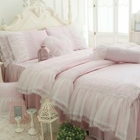 Home Textiles Cotton Luxury Lace White Rose Bedding Sets Bed Linen Gifts Princess Bedclothes Bed Cover Bed Skirt 4 Pcs King Size