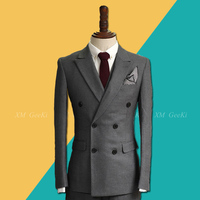 2018 Autumn and Winter Korean The Double breasted Suit Jackets Men's 3 piece British Casual Blazers Male Groom Army Green Suits