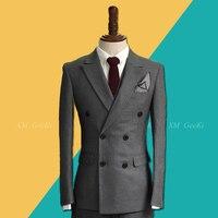 2019 осенне зимний Корейский двубортный костюм, куртки мужские, 3 предмета, британские повседневные блейзеры мужские, жених, армейские зелены