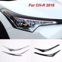 For Toyota For CH R 2018 2017 Car Exterior Accessories 2pcs ABS Chrome/Carbon fiber Headlight Lamp Cover Eyebrow Trim Cover