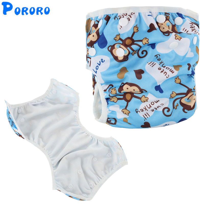 Reusable Bayi Berenang Popok Dicuci Satu Ukuran Bernapas Kartun Cetak Berenang Popok Kain Penutup PUL Unisex Celana Renang