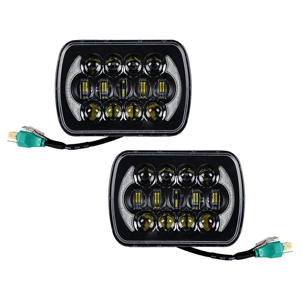 Pair 5'' x 7'' hi/Low beam H4 Plug headlights 7 inch Daymaker headlight for Jeep Wrangler YJ Cherokee XJ DRL LED Square headlamp h4 led headlight pair plug
