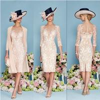 Fashion Ronald Joyce Knee Length Lace Mother Of The Bride Dresses 2017 With 3 4 Long
