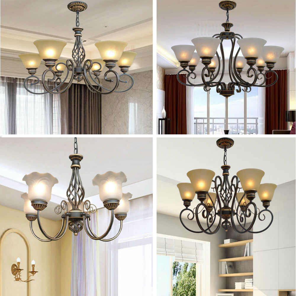 HGhomeart 3/6/8 Head Antique Iron Chandelier Led Suspension Dining Room Chandeliers 110V-220V Country Style Lighting Luminarias