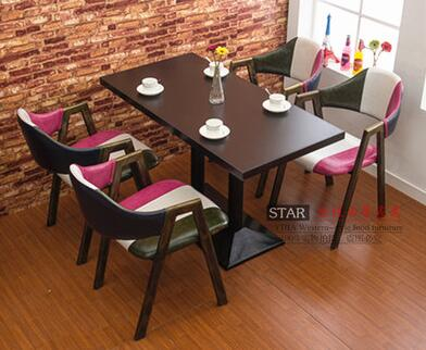 Milk tea shop eat desk and chair. Western restaurant coffee tables and chairs. Cake shop furniture dessert table glass dinner table milk tea shop reception desk and chair small family dining table