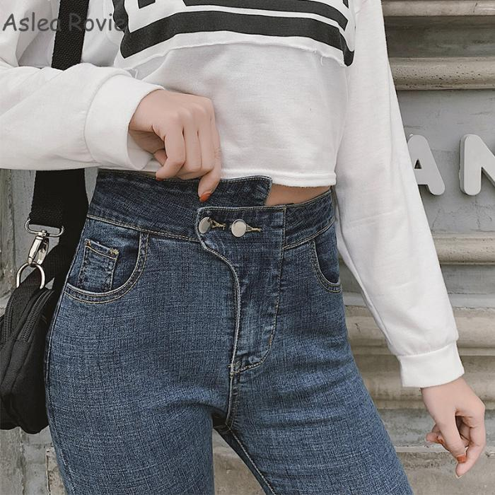 Jeans   with high waist woman fashion High Street Ankle length Double button Softener Skinny Pencil denim Pants