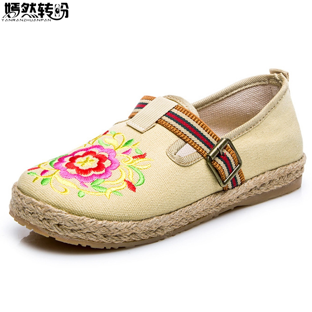 Vintage Women Flats Shoes Cotton Linen Canvas Floral Embroidered Cloth National Soft Woven Round Toe Ballet Shoes Woman vintage women flats old beijing mary jane casual flower embroidered cloth soft canvas dance ballet shoes woman zapatos de mujer