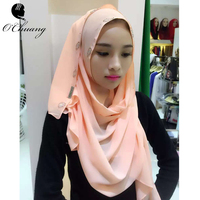 New Luxury Brand Scarf For Women Islamic Muslim Inner Hijab Caps Diamond Scarves Solid Skull Head