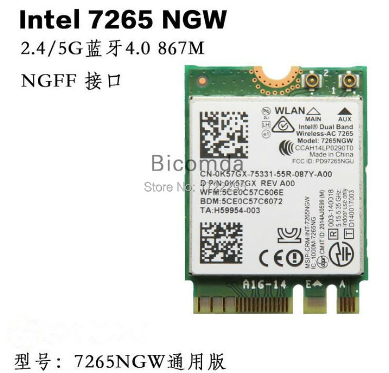 new for Intel Dual band Wireless-AC 7265 7265NGW Bluetooth BT4.0 2.4GHz/5GHz 867Mbps NGFF M2 Wireless Card telit ln930 dw5810e m 2 twh3n ngff 4g lte dc hspa wwan wireless network card for venue 11