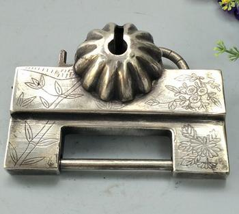 China collectible archaize white copper the ancient Door lock crafts Furnishing articles