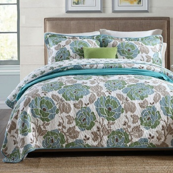 CHAUSUB Quality Quilt Set 3PCS Flowers Print Quilts Washed Cotton Quilted Bedspread Bed Cover Pillowcase King size Coverlet Set