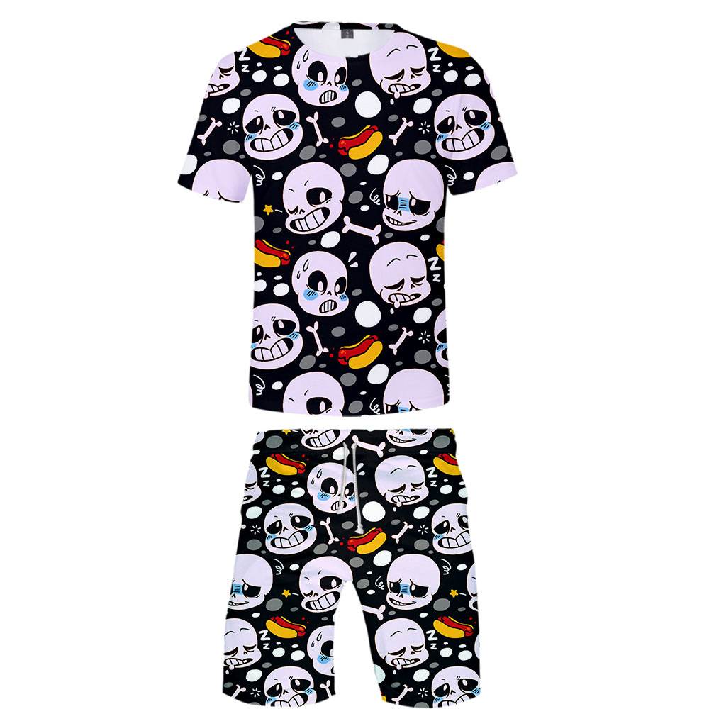 2019 Undertale Two Piece Set Tshirt And Shorts Harajuku Men Undertale T Shirt Streetwear Harajuku Short Sleeve Plus Size