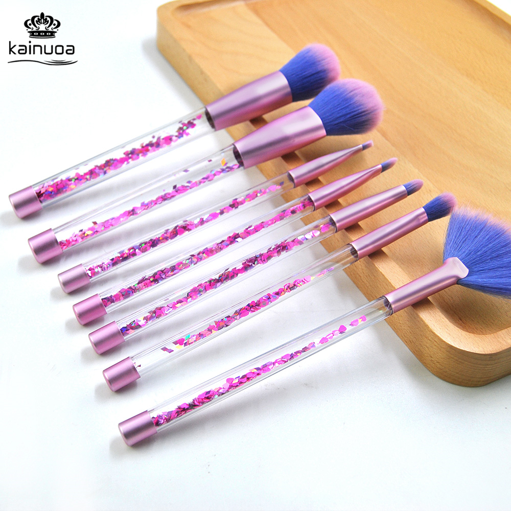 7Pcs Glitter <font><b>Mermaid</b></font> <font><b>Makeup</b></font> <font><b>Brushes</b></font> W/ Diamond Crystal Cosmetic <font><b>Bag</b></font> Unicorn pincel Sereia Foundation highlighter Eye <font><b>Brushes</b></font> Kit image