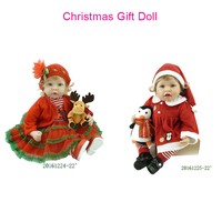 22 Lifelike and Realistic Bebe Reborn Short Blonde Curly Hair Girls Play Doll Christmas Reborn Baby Doll in Christmas Dress