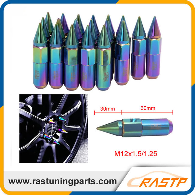 RASTP - 20 Pcs/Pack Neo Chrome Rainbow BLOX Racing Wheel Lug Nuts With Spikes M12X1.5/1.25 LS-LN014N