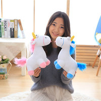 Cute Pink Blue Stuffed PP Cotton Horse Doll Christmas Present Kids Doll Baby Plush Toys 30cm