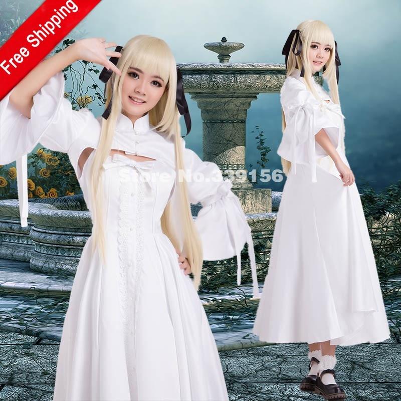 HOT! On Sale Yosuga no Sora Kasugano Sora White Cosplay Dress Costumes Can be Customized