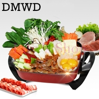 Multifunction Household Frying Oven Electric Roasting Pan Korean Heat Household Hot Pot 6L Grill Electric Skillets