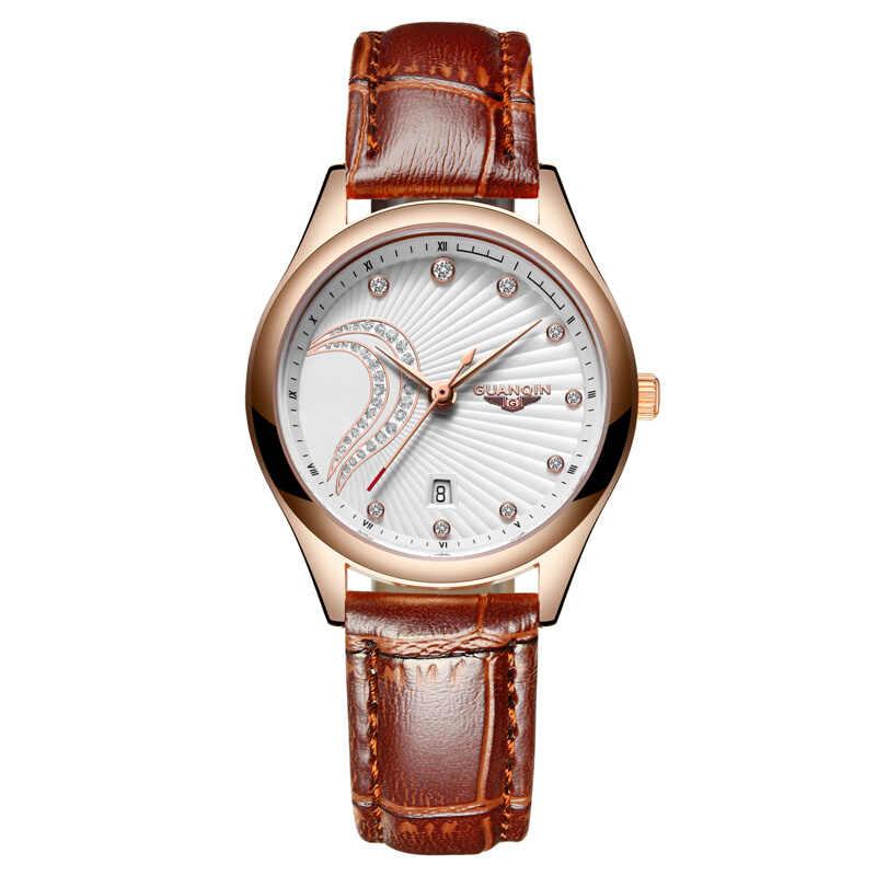 GUANQIN 2019 クリエイティブデザイナー男性の女性の革防水時計セットスリムメッシュベルト時計レディース腕時計レロジオ Feminino